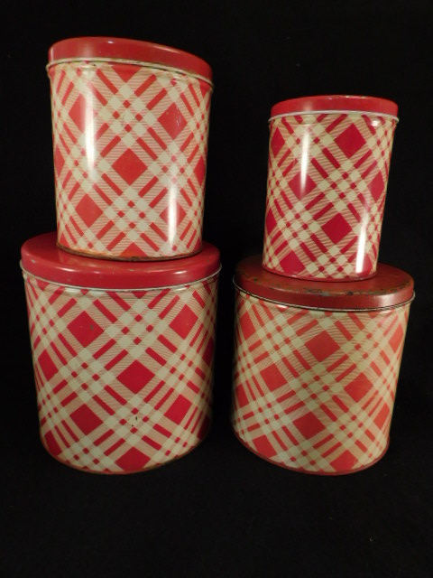 VINTAGE METAL ANTIQUE PLAID SET OF 4 CANISTER SET