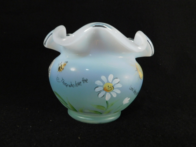 FENTON ART GLASS USA HANDPAINTED ROSEBOWL OPAL MIST ( YES WE SHIP)