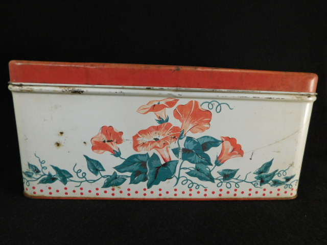VINTAGE ANTIQUE METAL BREAD BOX RED RETRO MORNING GLORY