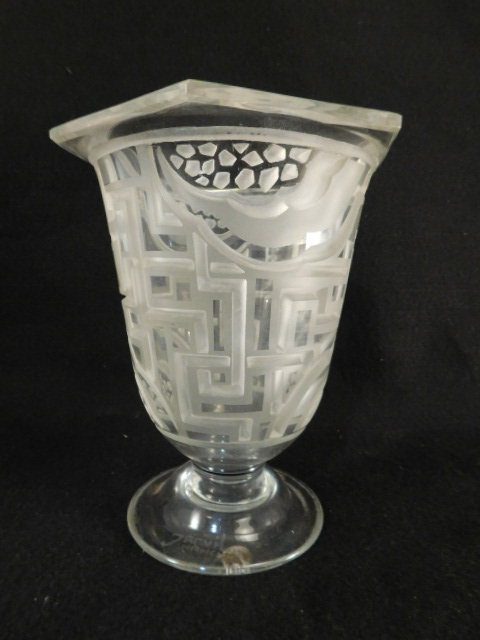 JARVIL NANCY FRENCH FRANCE VASE ETCHED ART DECO NOUVEAU CUT GLASS ART GLASS