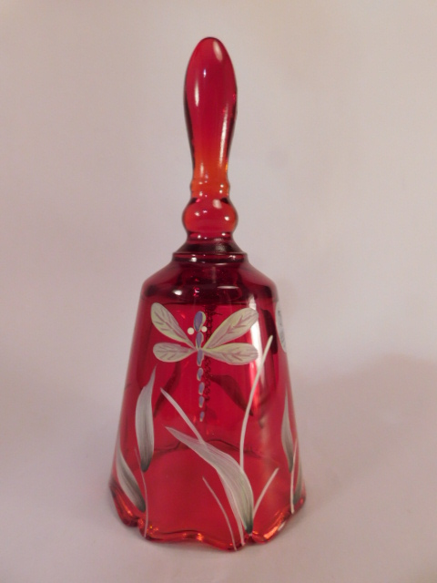 FENTON ART GLASS USA HANDPAINTED BELL RUBY (Yes, We Ship)
