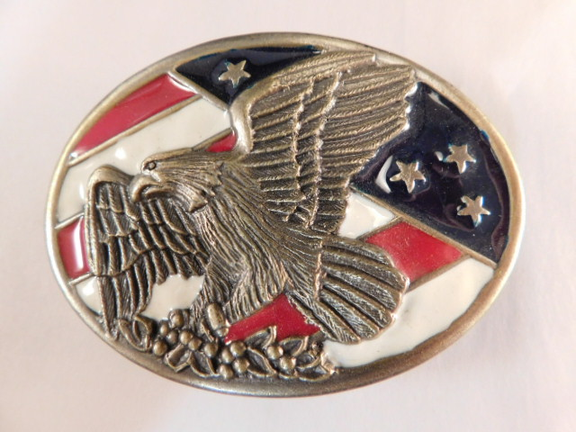 EAGLE AND AMERICAN FLAG BELT BUCKLE (Yes, We Ship)