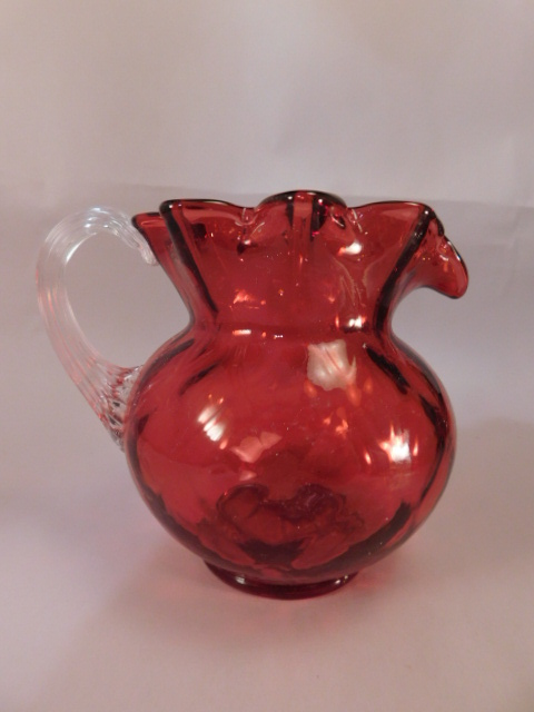 FENTON ART GLASS USA HANDPAINTED PITCHER CRANBERRY (Yes, We Ship)