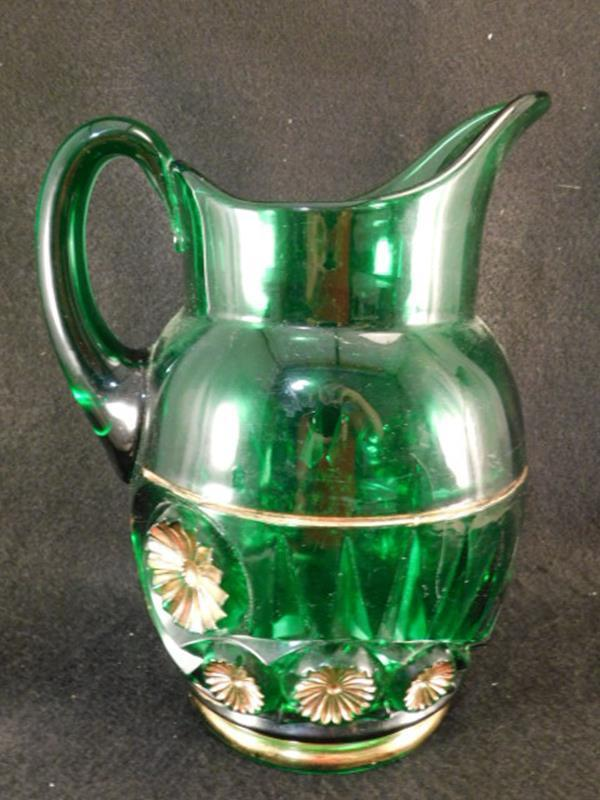 GREEN VICTORIAN GLASS EAPG PITCHER GILDED 1800'S ERA (Yes, We Ship)