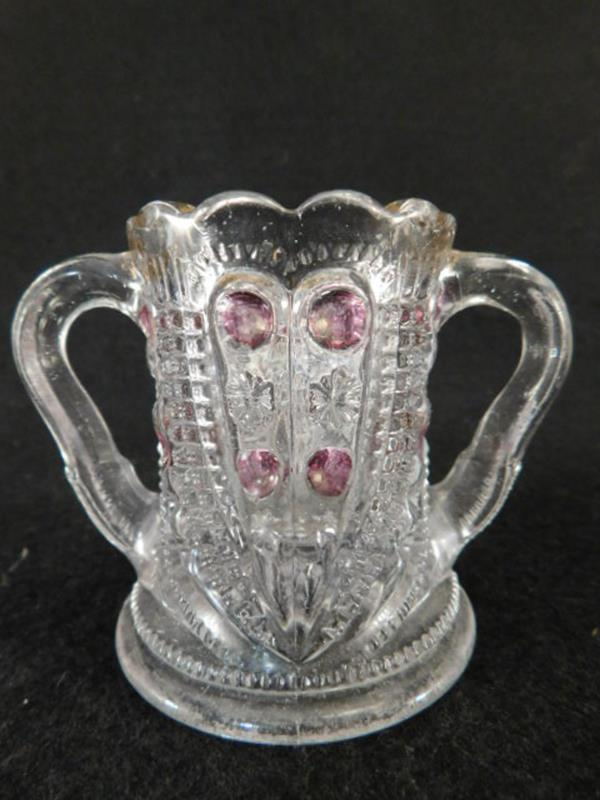 CRANBERRY TOOTHPICK HOLDER MAIDENS BLUSH BULLS EYE AND DAISY GLASS VICTORIAN EAPG (Yes, We Ship)