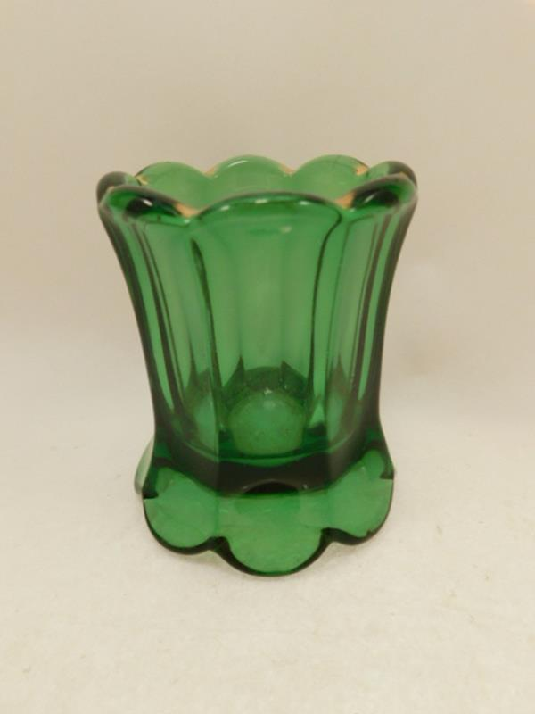 GREEN VICTORIAN GLASS VASE EAPG TOOTHPICK HOLDER (Yes, We Ship)