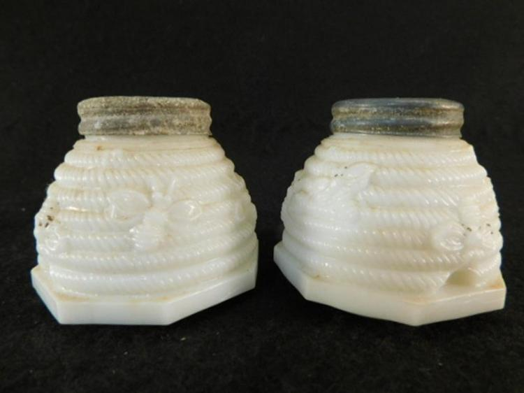 SCARCE BEE AND BEEHIVE CUSTARD GLASS OPAQUE GLASS SALT AND PEPPER VICTORIAN EAPG (Yes, We Ship)