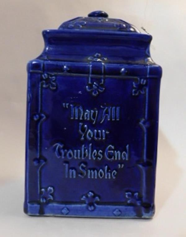 "FLOW BLUE YALE MIXTURE TOBACCO JAR ""MAY ALL YOUR TROUBLES END IN SMOKE"