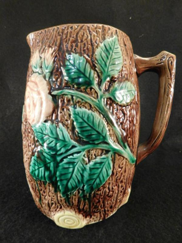 MAJOLICA PITCHER VINTAGE ANTIQUE ROSE (Yes, We Ship)
