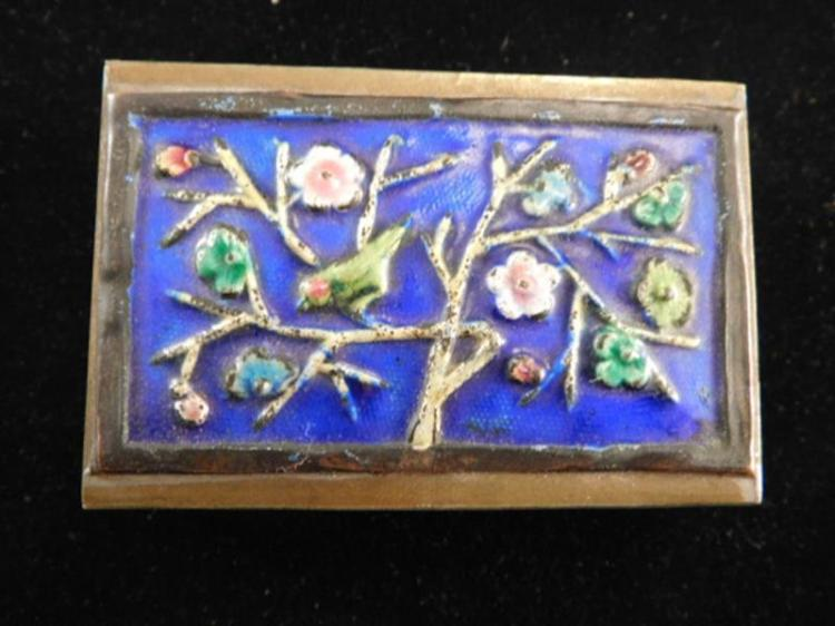 ENAMEL PAINTED MATCH BOX HOLDER VICTORIAN 1800'S EAPG OPALESCENT ART GLASS (Yes, We Ship)
