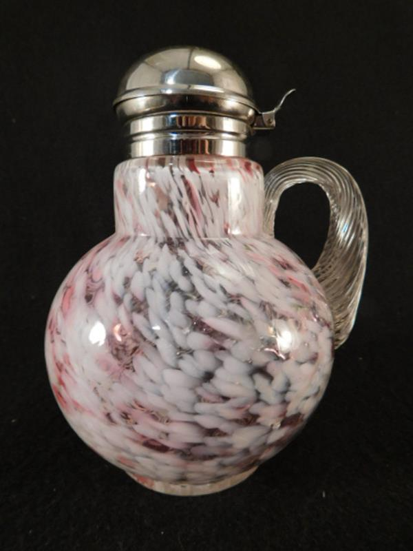 OPALESCENT SPATTER VENETIAN DIAMOND SYRUP PITCHER JUG VICTORIAN EAPG ANTIQUE (Yes, We Ship)
