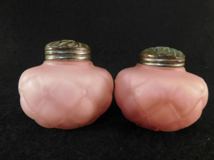 PINK OPAQUE SALT AND PEPPER SHAKER GLASS VICTORIAN EAPG ART (Yes, We Ship)