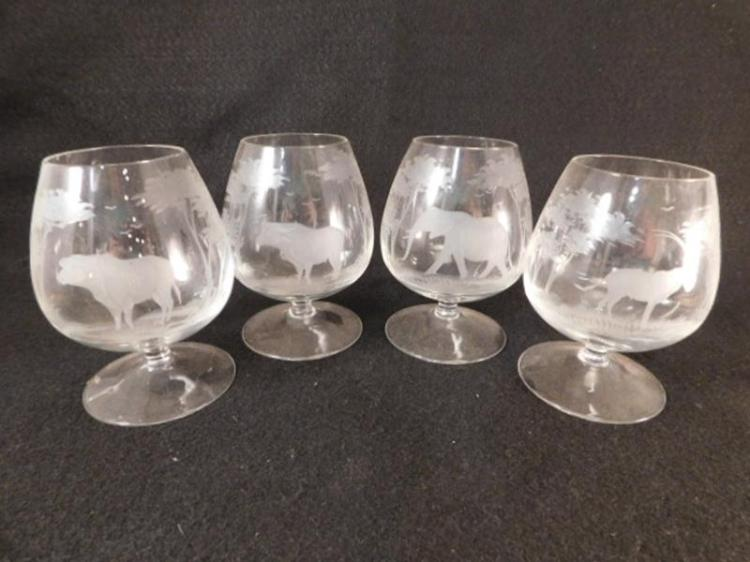 QUEENS LACE CRYSTAL CUT GLASS ETCHED AFRICA ELEPHANT IBEX WATER BUFFALO STEM BRANDY (Yes, We Ship)