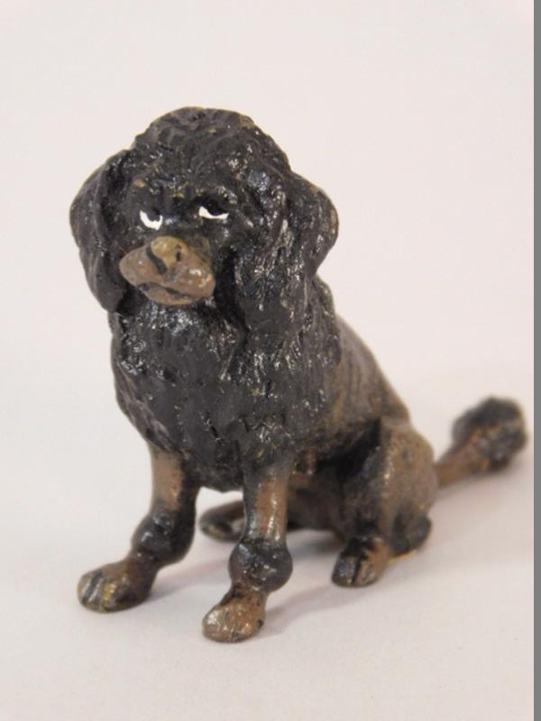 VINTAGE TOY POODLE METAL HEAVY PAINTED MINIATURE PROBABLY PEWTER (Yes, We Ship)