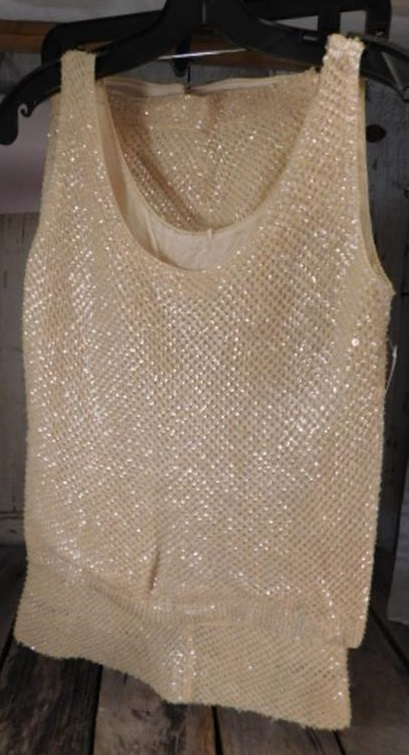 VINTAGE CLOTHING MOD MID CENTURY SEQUINED SNAZZY BLOUSE AND PENCIL SKIRT (Yes, We Ship)
