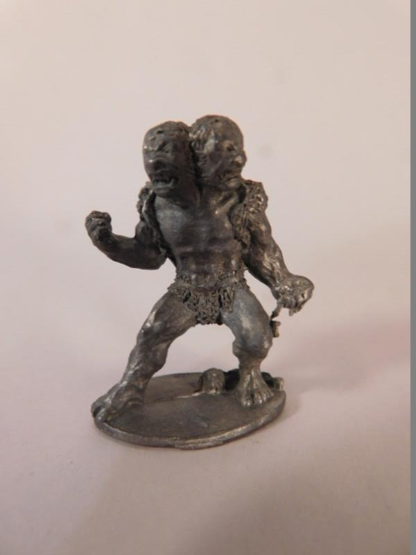 CREEPY PEWTER DOUBLE HEADED CREATURE MONSTER DUDE MINIATURE (Yes, We Ship)