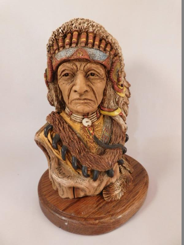 "INDIAN CHIEF LIMITED EDITION HERRERO BUST ""MANY COUPS"" LOW NUMBER (Yes, We Ship)"