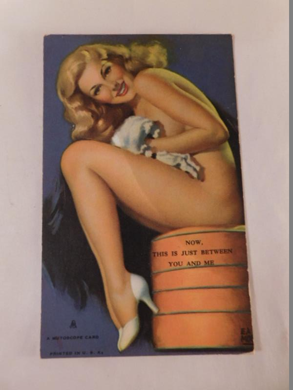 VINTAGE ARCADE MUTOSCOPE CARD ARTIST EARL MORAN NUDIE RISQUE (Yes, We Ship)