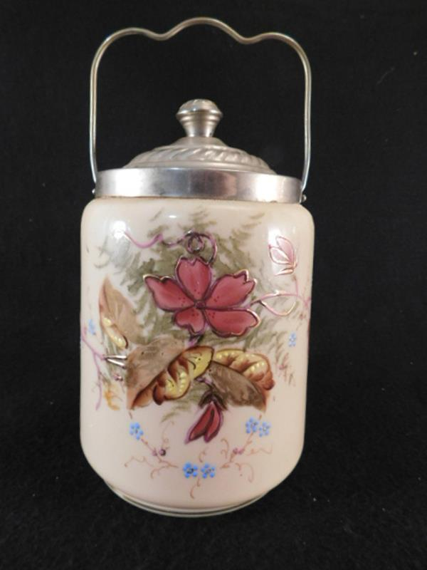 FIRE GLOW GLASS ENAMELED PAINTED BISCUIT CRACKER JAR VICTORIAN (FORMERLY LOT 3219) (Yes, We Ship)
