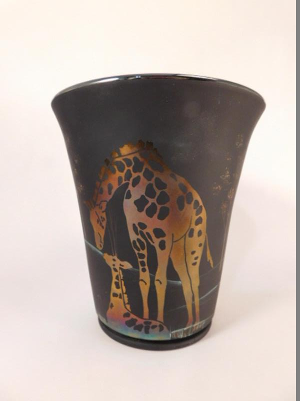 FENTON ART GLASS SCARCE GIRAFFE K. BRIGHTBILL $225 RETAIL USA HANDPAINTED (Yes, We Ship)