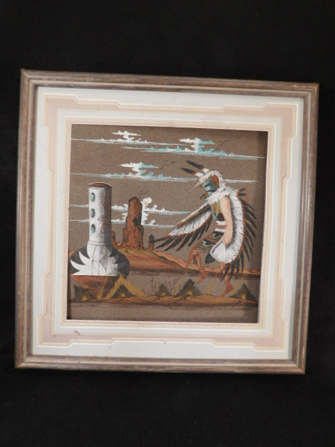 EAGLE KACHINO DOLL PAINTING SIGNED SAND PAINTING (Yes, We Ship)