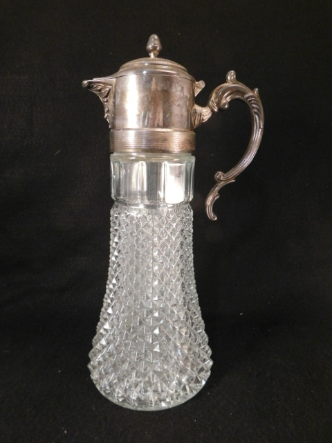 CRYSTAL AND SILVER WATER TANKARD VICTORIAN EAPG (Yes, We Ship)