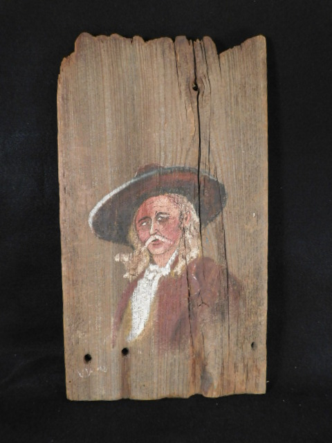 FOLK ART HAND PAINTED GENERAL CUSTER ON BARN WOOD (Yes, We Ship)
