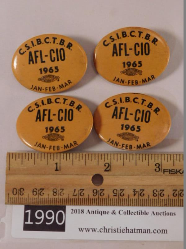 C.S.I.B.C.T.B.R. AFL-CIO 1965 PINS (Yes, We Ship)