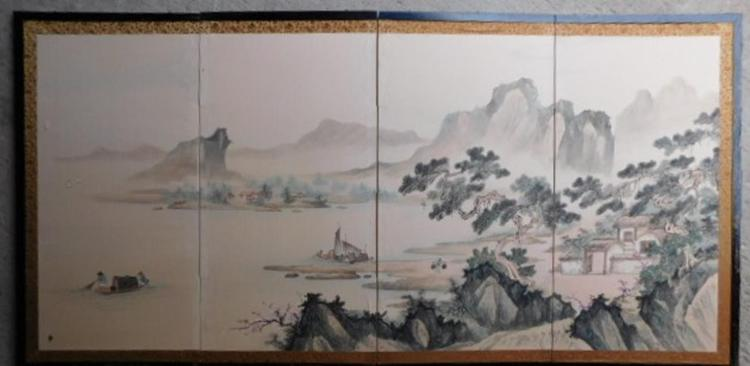 LARGE HAND PAINTED FOLDING SILK SCREEN ASIAN ORIENTAL ANTIQUE VINTAGE