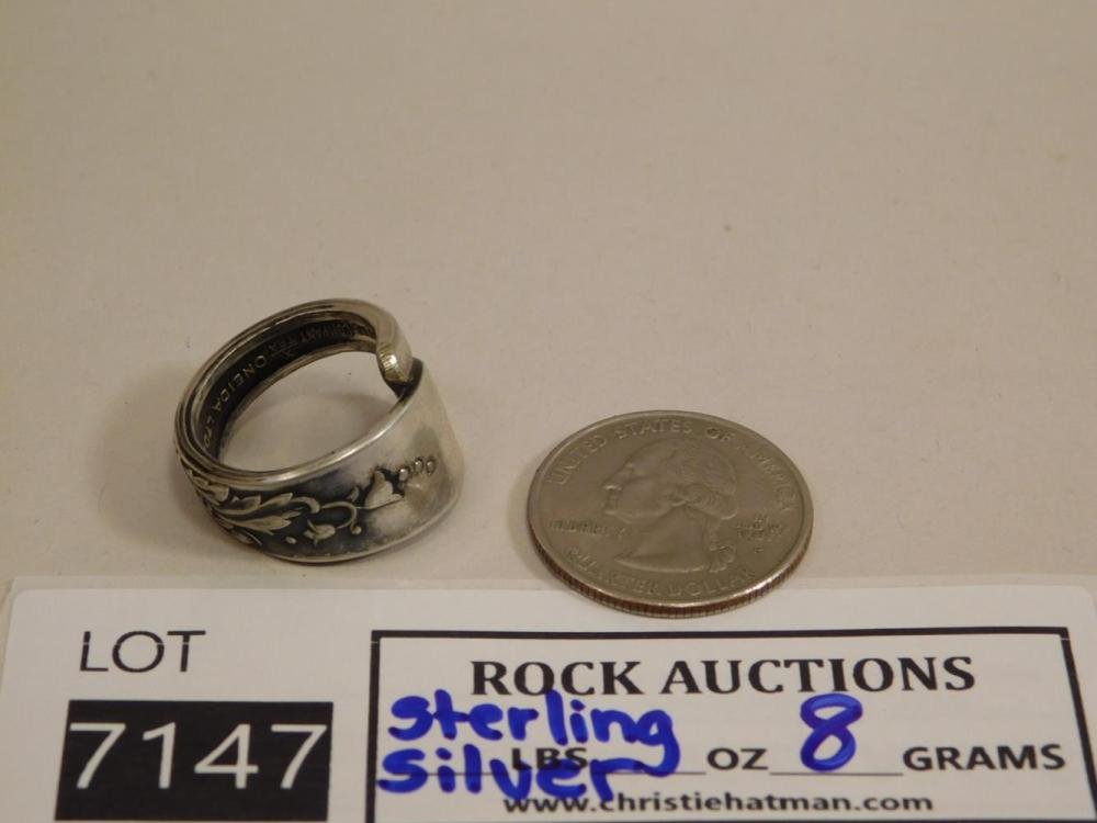 STERLING SILVER SPOON RING ROCK STONE LAPIDARY SPECIMEN