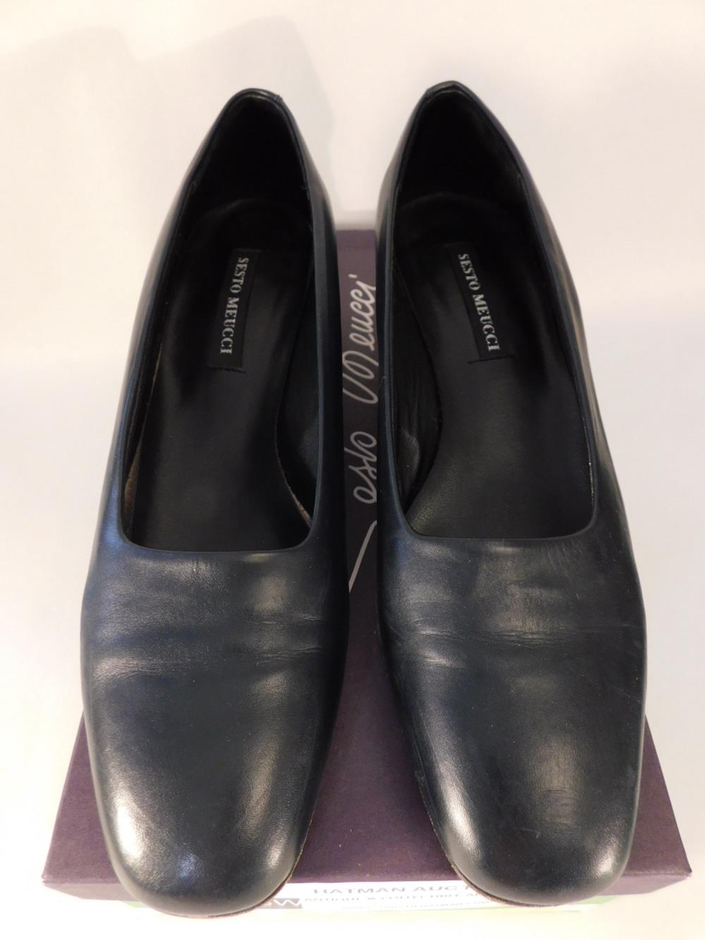 SESTO MEUCCI OF FLORENCE MADE IN ITALY SHOES ESTELLE NAVY CALF SIZE 7.5 N WOMENS DRESS SHOE