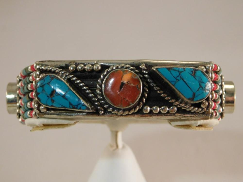TURQUOISE, CARNELIAN, RED CORAL METAL BRACELET