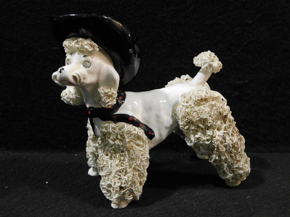 POODLE MID CENTURY CERAMIC WEARING COWBOY HAT