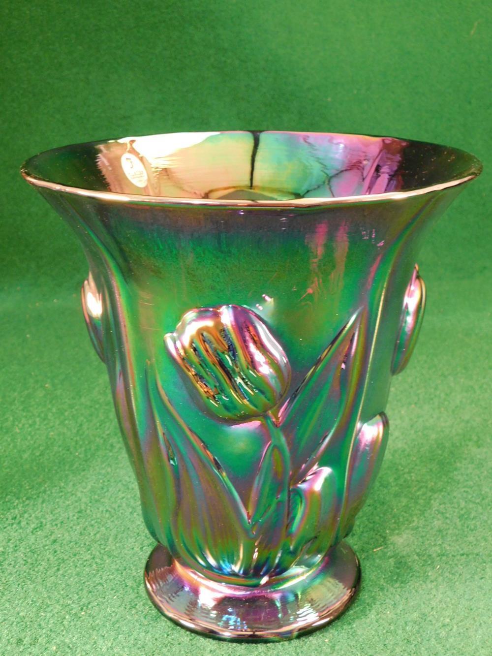 FENTON ART GLASS USA HANDPAINTED CARNIVAL GLASS VASE