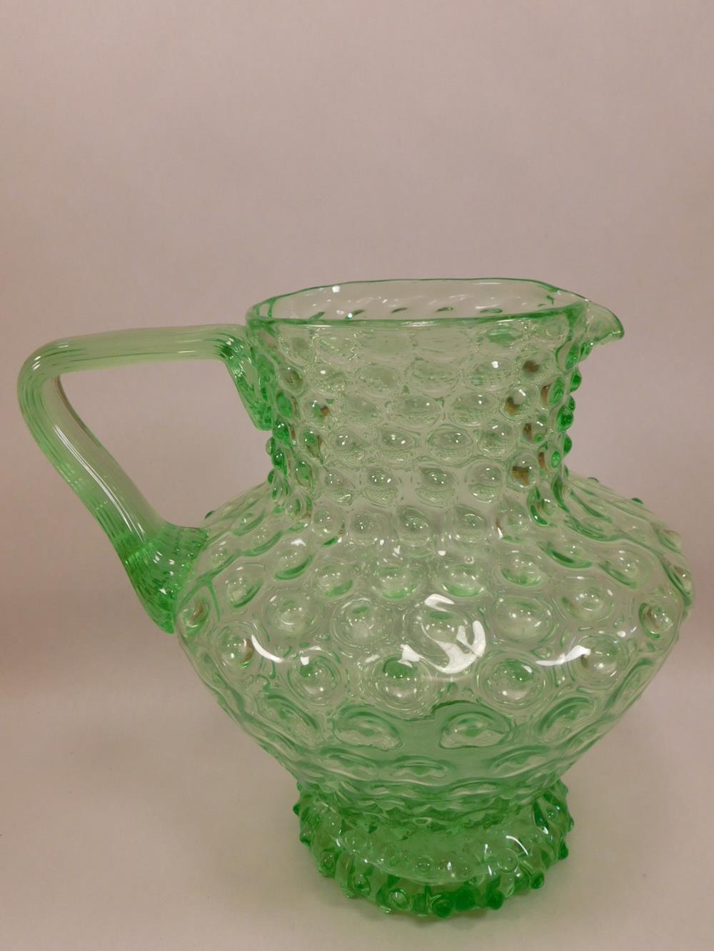 GREEN PITCHER VINTAGE HOBNAIL GLASS