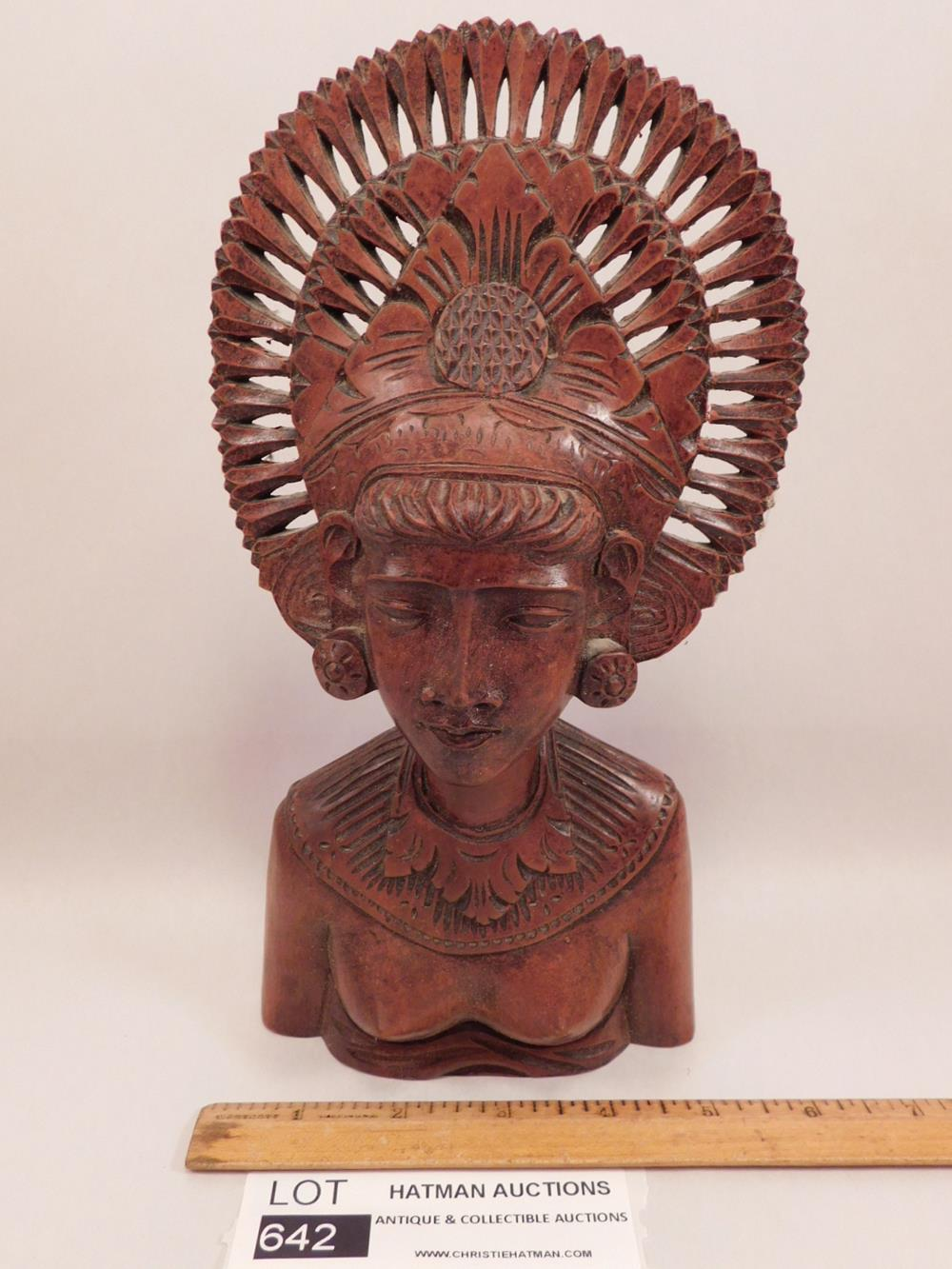 CARVED TRIBAL WOMAN BUST WOODEN VINTAGE ANTIQUE