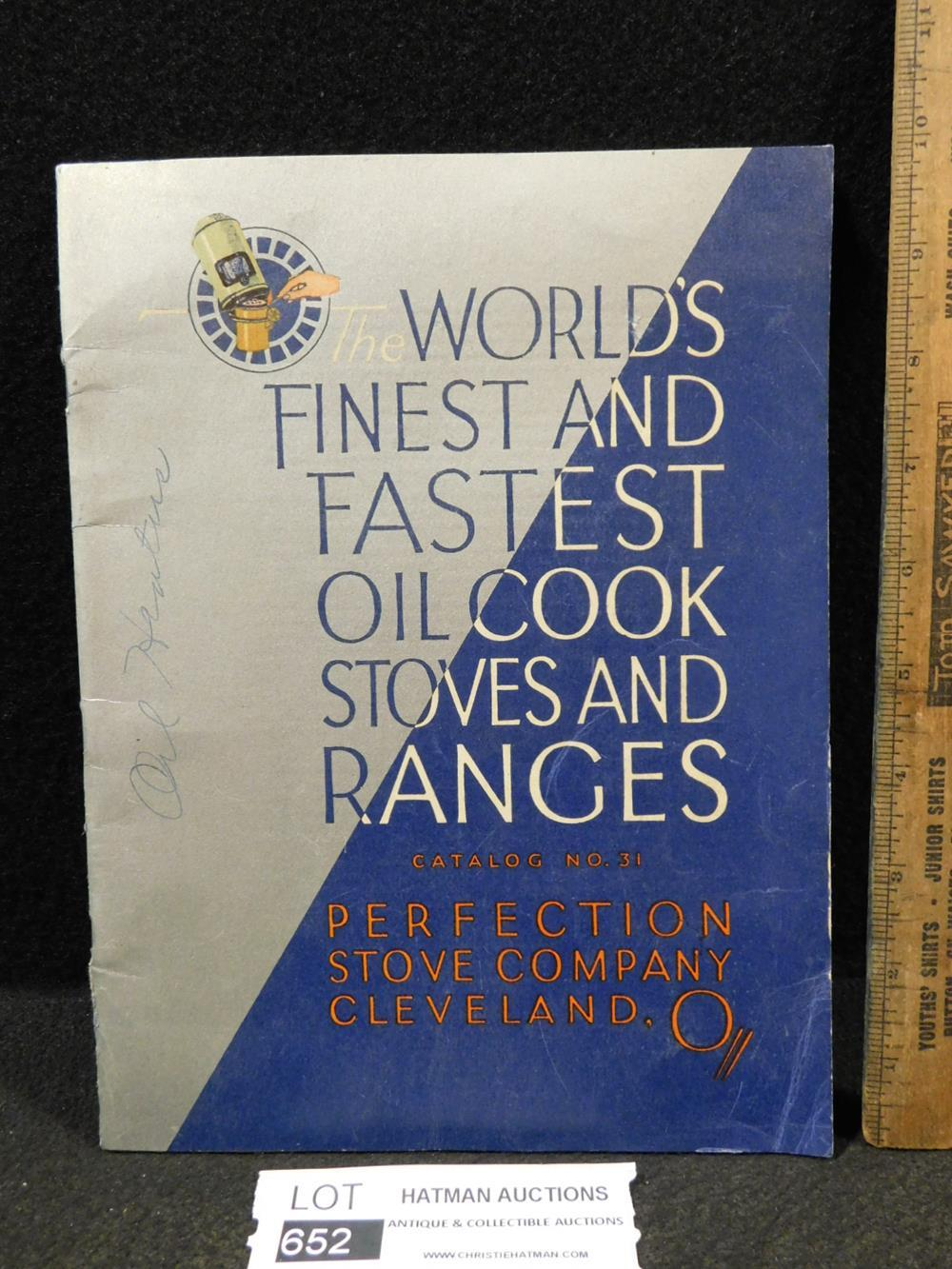 VINTAGE CATALOG WORLDS FINEST AND FASTEST OIL COOK STOVES AND RANGES BOOK