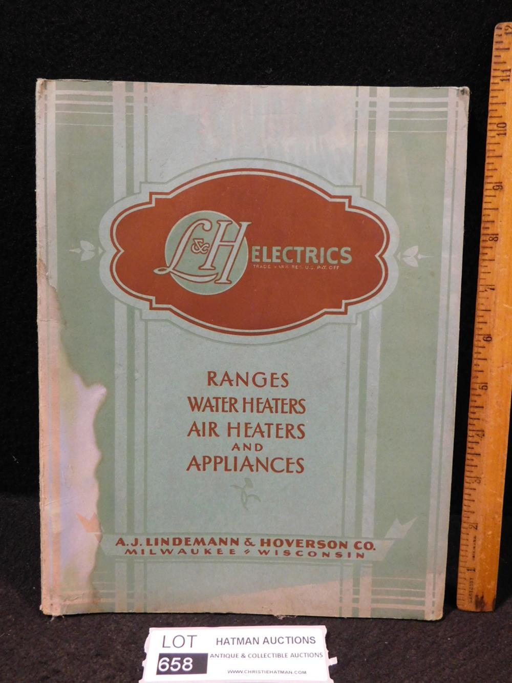 VINTAGE SUPPLY CATALOG L & H ELECTRIC RANGES WATER HEATERS AIR HEATERS AND APPLIANCES BOOK