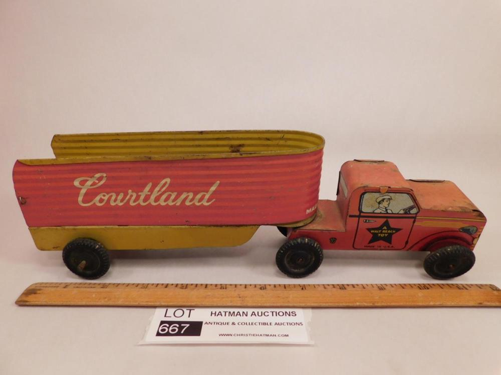 VINTAGE ANTIQUE COURTLAND METAL TRUCK AND TRAILER ANTIQUES AND COLLECTIBLES