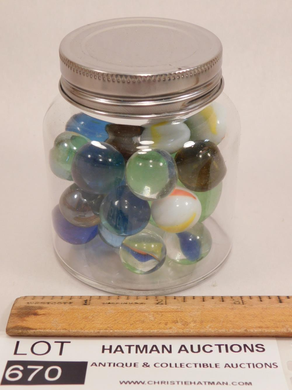 JAR OF MARBLES ANTIQUES AND COLLECTIBLES