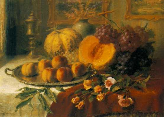 HENRY KOKKEN (BELGIAN, B. 1860) Still Life on a Table in an Interior