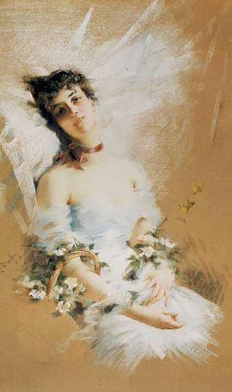 LOUISE DE HEM (BELGIAN, 1866-1922) Reclining Beauty with Basket of Flowers