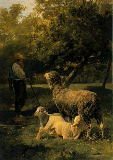 CHARLES EMILE JACQUE (FRENCH, 1813-1894) A Shepherd with his Flock