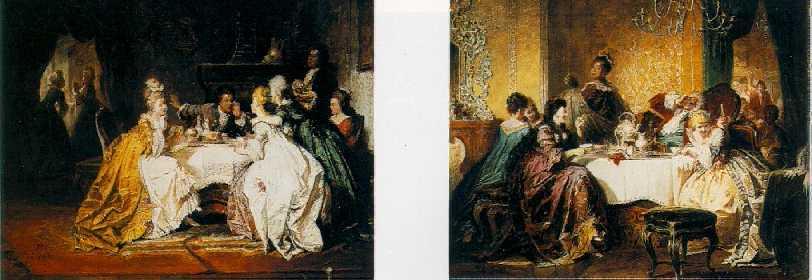 JACOB EMMANUEL GAISSER (GERMAN, 1825-1899) Interiors with Elegant Figures