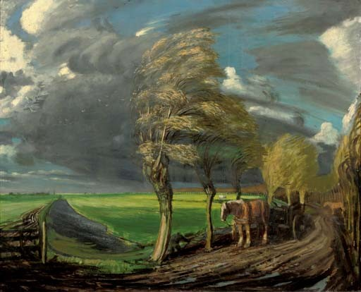 Dutch landscape in stormy weather