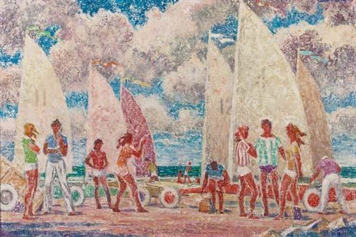 Zeilwagentjes voor het vertrek - Beach sailing