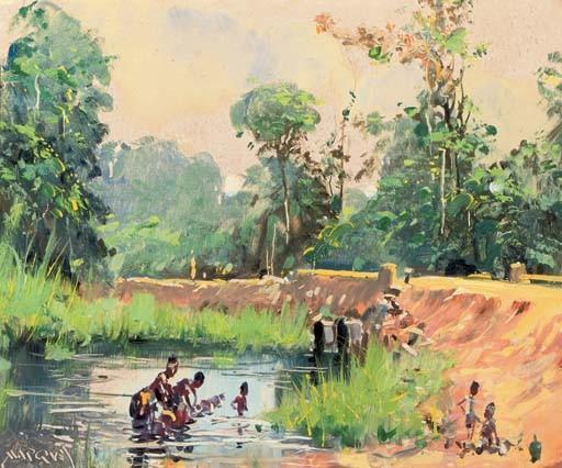 African women washing at a lake