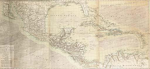 BONNE, Rigobert (1727-1794). Carte des isles Antilles et du Golfe du Mexique; avec la majeure partie de la Nouvelle Espagne. Paris: Delamarche, août 1786. Grande carte (ca. 660 x 1450 mm), imprimée sur trois feuilles. Montées et coloriées à