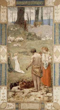 PIERRE CECILE PUVIS DE CHAVANNES (FRENCH, 1824-1898) Sainte Genevieve enfant en priere