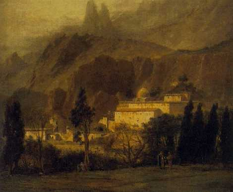 ADRIEN DAUZATS(Footnote 1) (FRENCH, 1804-1868) A View of the Monastery of Saint Catherine, Mt. Sinai